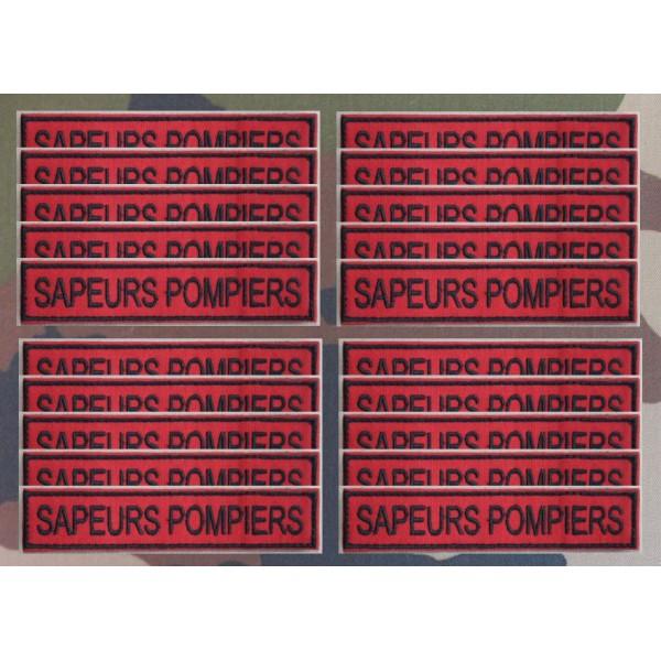 """Bandes Patronymiques """"SAPEURS POMPIERS"""" sur fond rouge"""