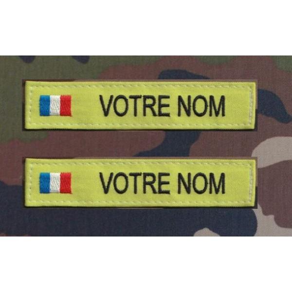 Bande Patronymique Verte Pomme avec drapeau France (par 2)